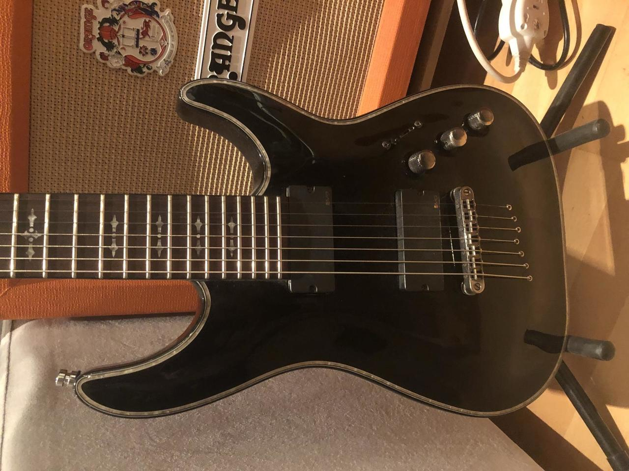 Schecter Hellraiser C7 Diamond series - Black + Kufor + Pas